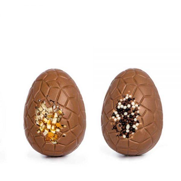 2 Huevos de pascua LUXURY 10cm 75gr en chocolate con leche | Huevos de Semana Santa