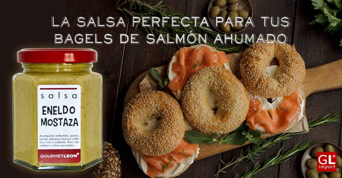 salsa eneldo mostaza a bagels de salmon ahumado gourmet leon