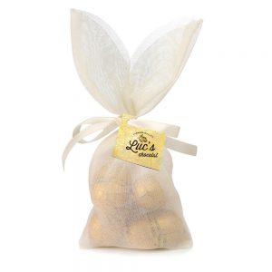bolsita de conejito rellenas de huevitos de chocolate dorado gourmet leon