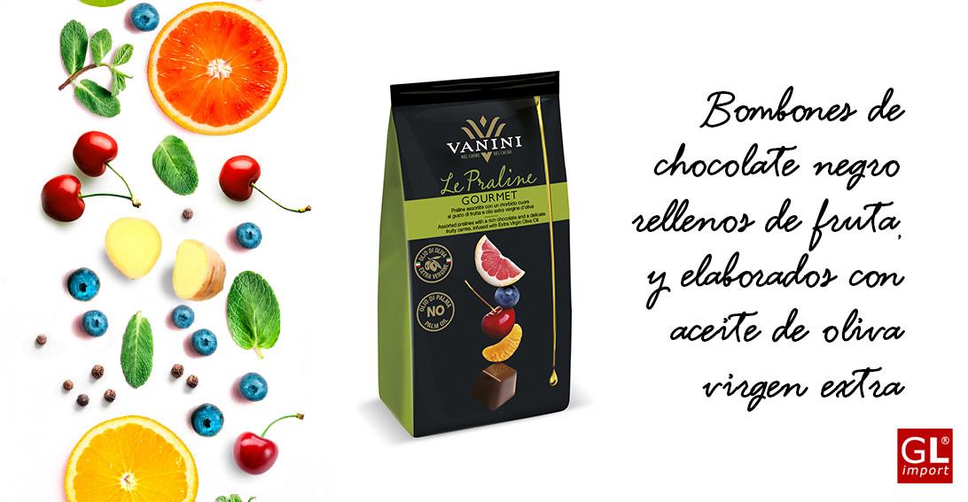 bombones de chocolate negro rellenos de fruta vanini