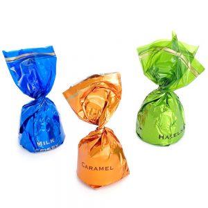 Bombón con envoltorio de 1 lazo chocolate sabores surtidos caja granel