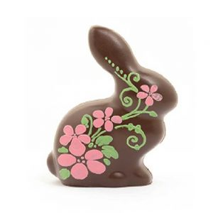 Conejito de chocolate negro FLOR 19 cm 200 gr | Figuras de Semana Santa