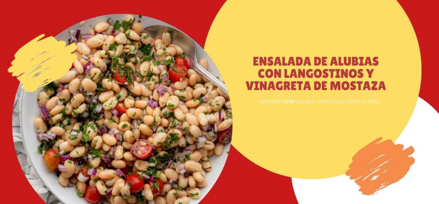 Ensalada de alubias con langostinos y vinagreta de mostaza