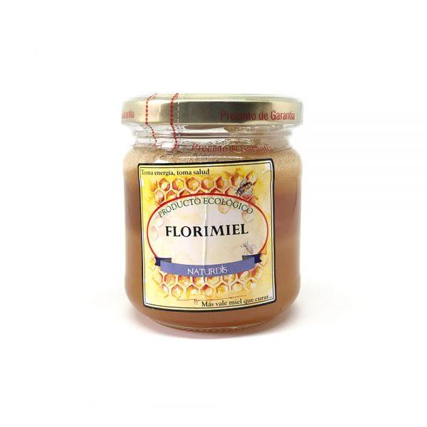 Miel y flores comestibles de producción ecológica.