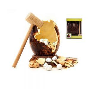 huevo de chocolate con huevitos gaviota con martillo mona pascua gourmet león