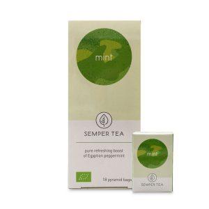 te de menta bio en bolsa piramide biodegradable semper tea