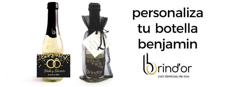 botellas personalizadas brind'or vino con oro