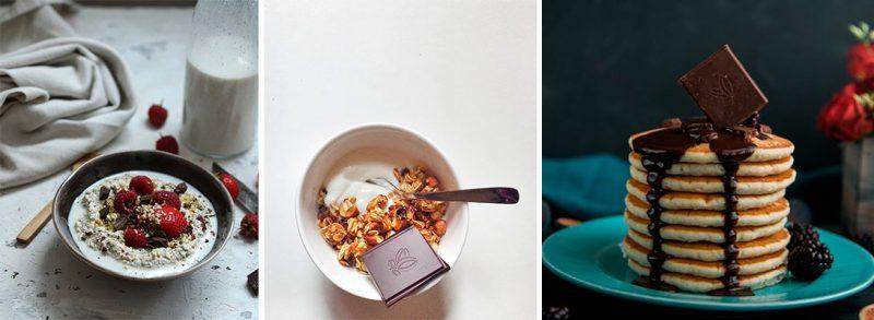 Para el desayuno - decoraciones fáciles con tabletas de chocolate