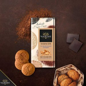 tableta chocolate amargo biscotto amaretto sabor original italiano vanini