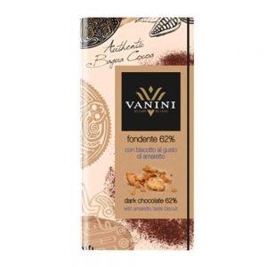 tableta chocolate amargo biscotto amaretto sabor original italiano vanini