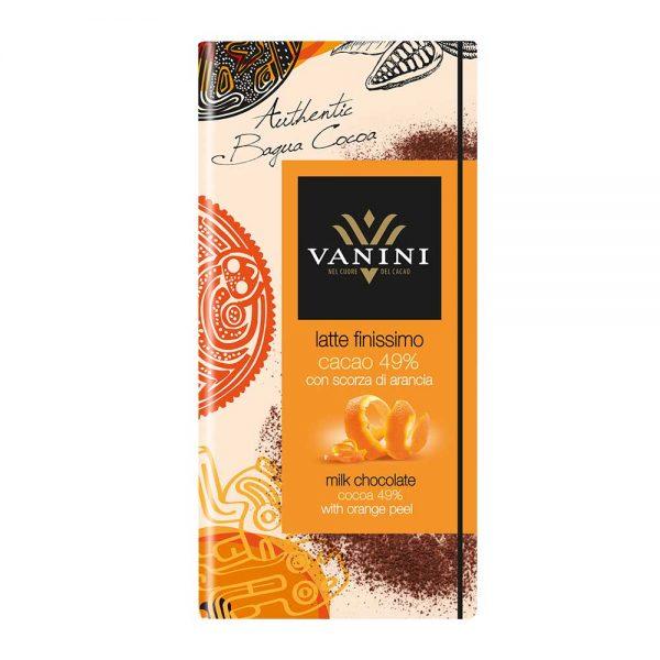 tableta de chocolate con leche cascara de naranja vanini gourmet leon