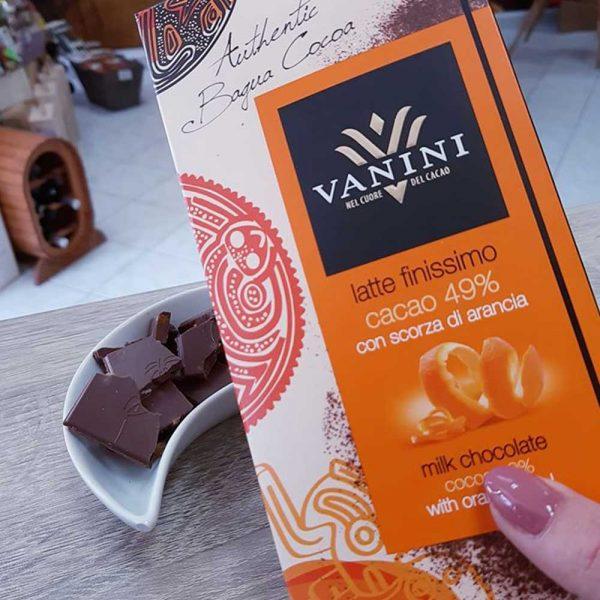 Tableta de chocolate con naranja vanini gourmet león
