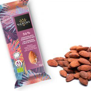 Chocolate negro UGANDA 56% almendras y sal 85gr.