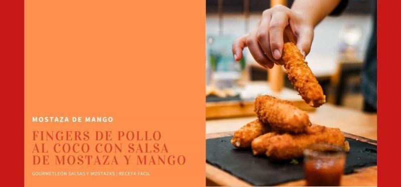 Tapa pollo al coco con salsa de mostaza y mango | Receta Tapas fáciles