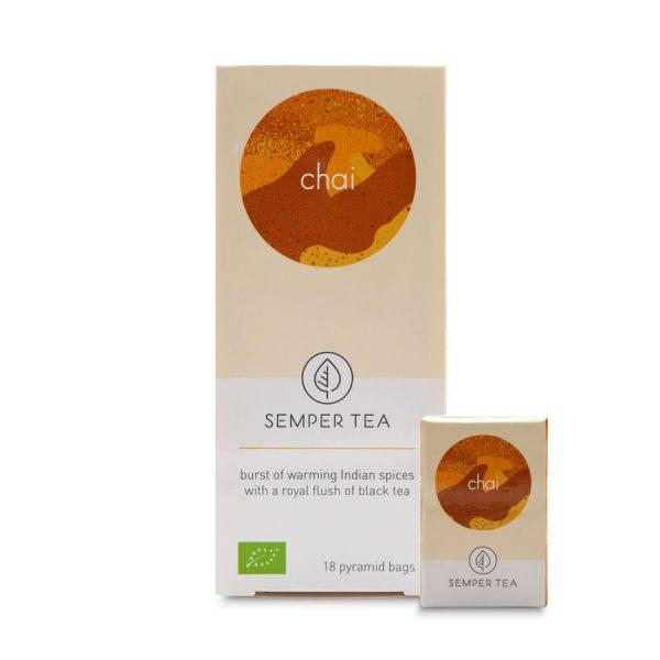 te chai organico cafeina bolsa piramide biodegradable semper tea