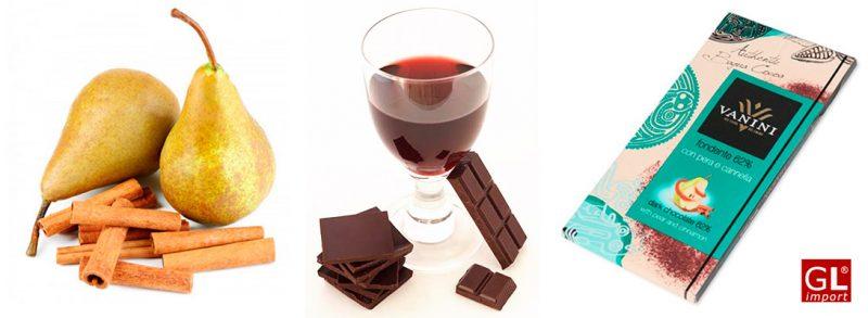 vino y chocolate negro tableta vanini pera y canela